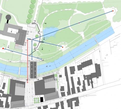 """Die alten Blickachsen des Kurparks (blaue Pfeile) hier mit dem Plan der """"Neuen Mitte"""", in dem die Blickbeziehung vom Platz zum Kurhaus mit rotem Pfeil dargestellt ist..."""