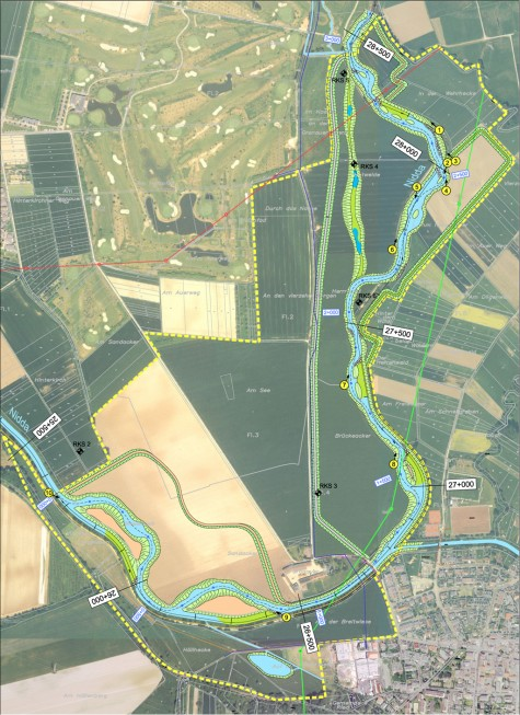 Lageplan Niddarenaturierung Bad Vilbel - Gronau