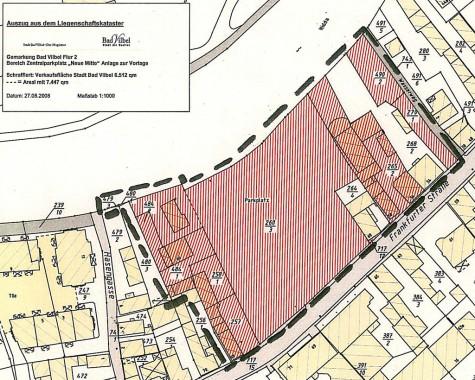 Auszug aus Liegenschaftskataster - Grundbesitz der Stadt rot schraffiert